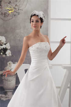 2020 White / Ivory Luxury Vestido De Noiva Robe De Mariage Bridal A Line Satin Applique With Train Wedding Dresses Bridal Gowns