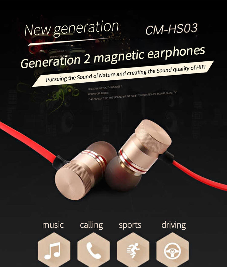 Magnetic music bluetooth earphone Y10 sport running wireless bluetooth headset with Mic For iPhone 8 X 7 Xiaomi 001