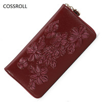Flower Pattern Women Wallets Zipper Ladies Clutch Purse Famous Brand Woman Wallet Long Brand Women Purses