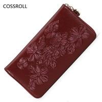 Flower Pattern Women Wallets Zipper Ladies Clutch Purse Famous Brand Woman Wallet Long Brand Women Purses