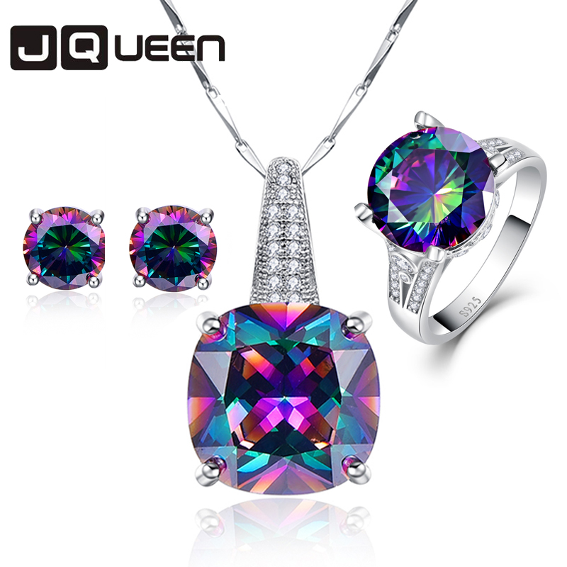 Hot Fashion 925 Sterling Silver Jewelry Set Topaz Rainbow Stone Chain Pendants Necklace Earrings Rings for Women SetHot Fashion 925 Sterling Silver Jewelry Set Topaz Rainbow Stone Chain Pendants Necklace Earrings Rings for Women Set