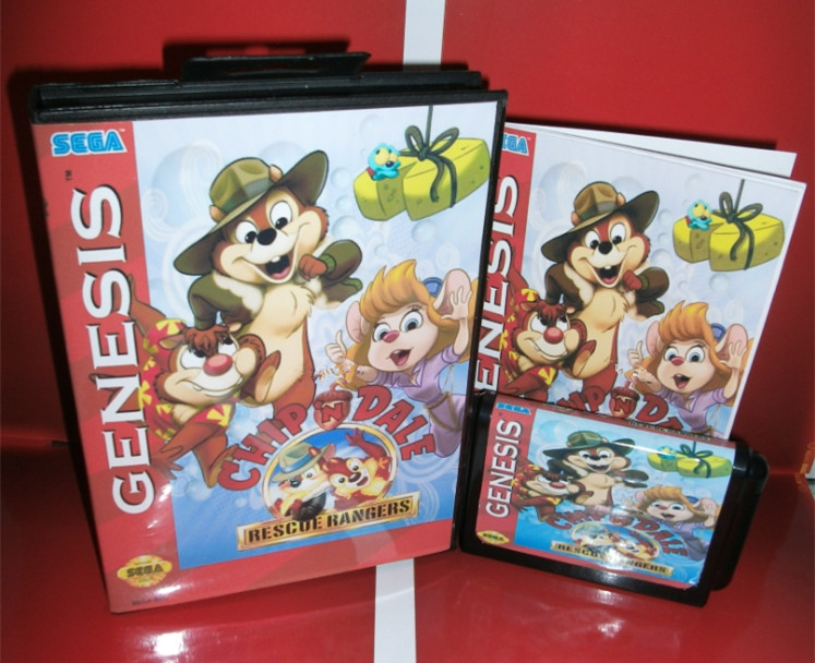 Sega games card - Chip 'n Dale - Rescue Rangers with Box and Manual for Sega MegaDrive Video Game Console 16 bit MD card