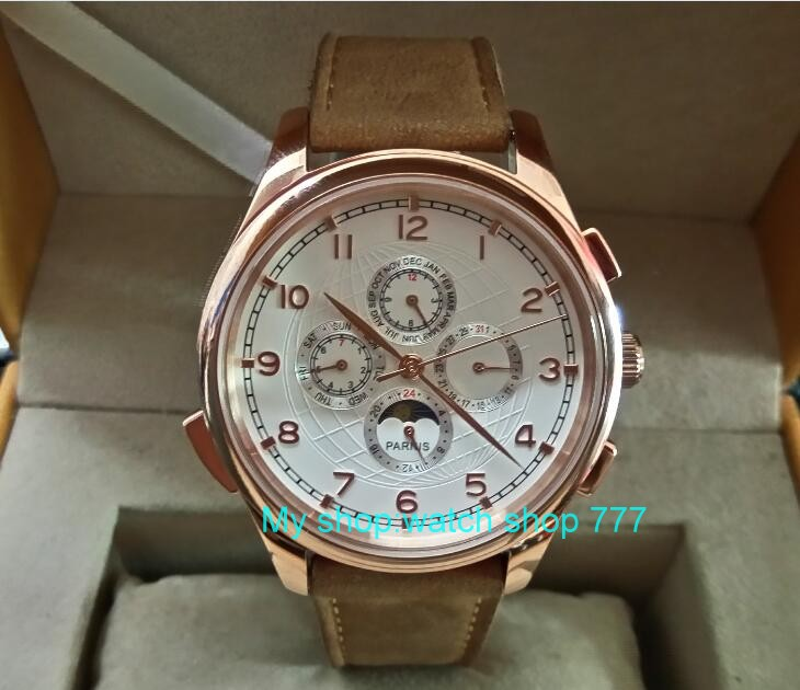 44MM PARNIS Automatic Self-Wind movement white dial multi-funtion men's watch Mechanical watches pvd Rose gold case 296A