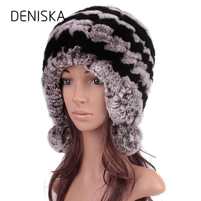 a425121188739 Women Genuine Knitted Rex Rabbit Fur Hats Russian Hat Ushanka Natural  Stripe Rex Rabbit Fur Caps Lady Winter Warm Head Wear Free