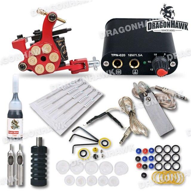 Hot Beginner Complete Tattoo Kit Machine Guns Inks Needles Tattoo Power Supply MGT-18GD-8