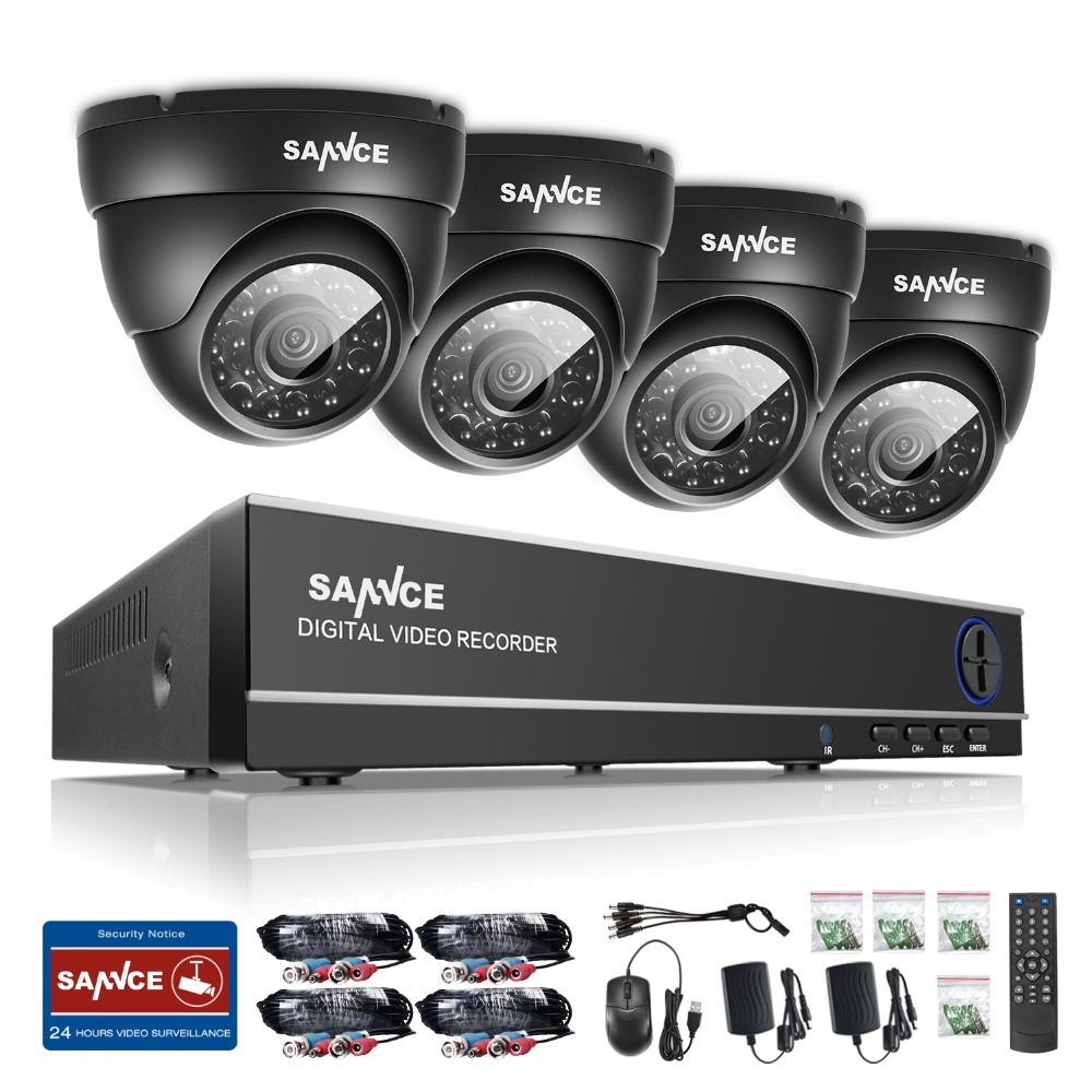 SANNCE 8CH HD 1080P DVR CCTV System 4pcs 720P TVI Security Cameras IR Indoor Outdoor 8 Channels video Surveillance diy kit sannce hd 4ch cctv system 1080p hdmi dvr 2pcs 720p 1280tvl cctv ir outdoor video surveillance security cameras 4ch dvr kit
