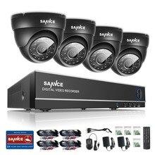 SANNCE 8CH HD 1080P DVR CCTV System 4pcs 720P TVI Security Cameras IR Indoor Outdoor 8 Channels video Surveillance diy kit