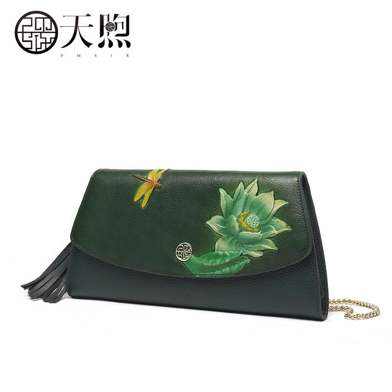 Pmsix haute qualité mode marque de luxe Messenger sac femme 2018 nouvelle main broderie mode sauvage style chinois femme sac leat