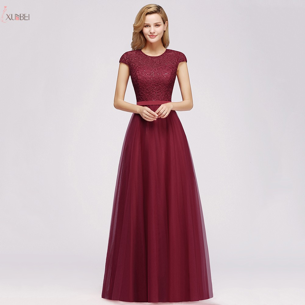 Burgundy Long   Bridesmaid     Dresses   2019 A line Wedding Party Guest Gown Sleeveless vestido madrinha robe demoiselle d'honneur