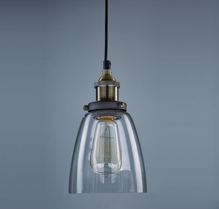 Superb Vintage Industrial Edison Pendant Light Wrought Iron Body Glass Pictures