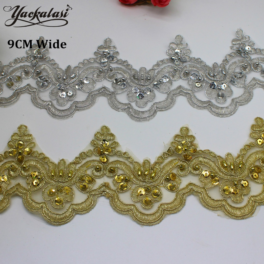 1 Yard Lace Trim Gold Embroidery Flower Floral Wedding Dress Brial Lace Applique