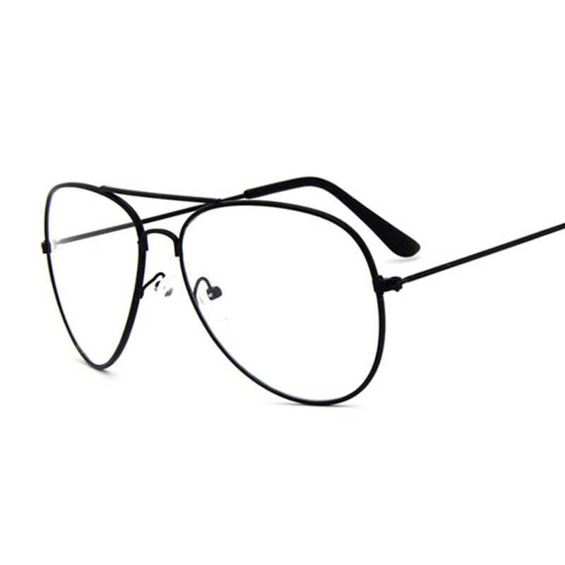 a37b01ce63 ... La aviación de oro marco negro gafas de sol mujer clásico gafas  transparente óptico mujeres hombres ...