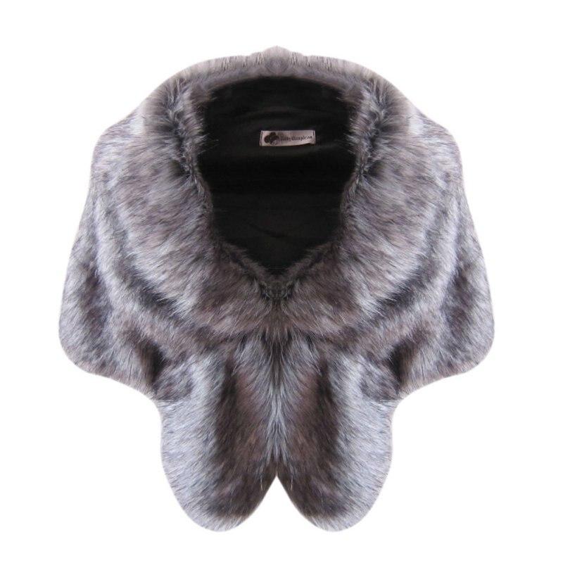 Elegant Women Winter Warm Scarf Luxury Brand Bridal Wedding Faux Fur Long Shawl Stole Wrap Shrug Scarf S3