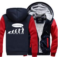 HAMPSON LANQE Stop Following Me Caveman Funny Mens Thicken Hoodies 2019 Winter Sweatshirts Men Casual Plus Size Coat Jacket