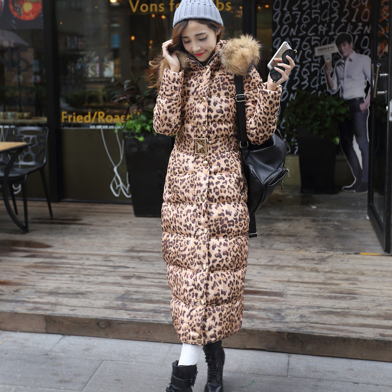 Fur Collar Long Thick Down Cotton Padded Women Parkas Slim Coat Removed Hooded Leopard Solid Belt Elegant Famale Warm Jacket winter jacket female parkas hooded fur collar long down cotton jacket thicken warm cotton padded women coat plus size 3xl k450