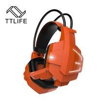 TTLIFE Nuevo Ghost Moda Glow Diadema Auricular Auriculares de Juegos de PC Gamer Casque Audio Estéreo Con Control de Volumen Mic LLEVÓ La Luz