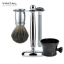 YINTAL Luxury Men Shaving Set Pure Badger Hair Beard Brush Double Edge Safety Blade Razor Stand Holder Shave Soap Bowl Best Gift недорого
