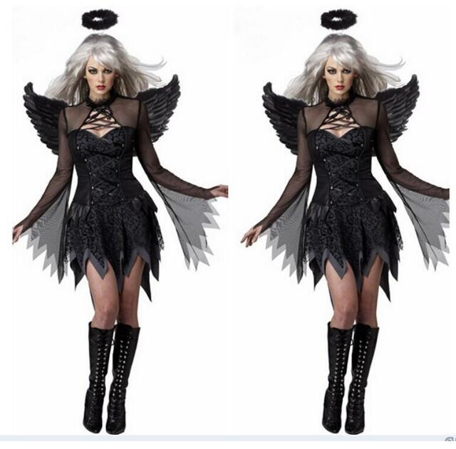Women Sexy Dark Angel Costume Adult Halloween Cosplay Party Raven Black Fallen Angel Fancy Dress with Halo u0026 Wing new on Aliexpress.com | Alibaba Group  sc 1 st  AliExpress.com : black halo costume  - Germanpascual.Com