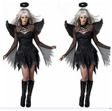 Women Sexy Dark Angel Costume Adult Halloween Cosplay Party Raven Black Fallen Fancy Dress with Halo & Wing