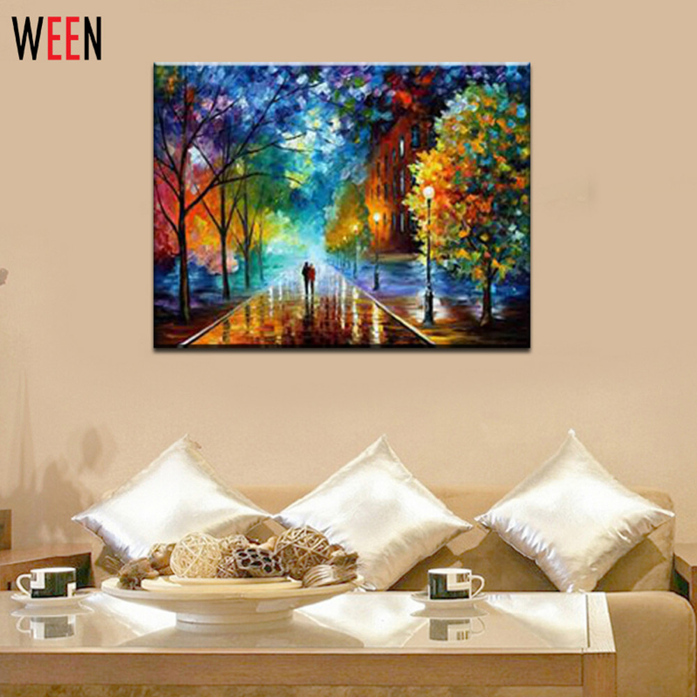 Paint By Numbers- Rural Landscape Arm In Arm Lovers Walk Oil Paint Canvas Art