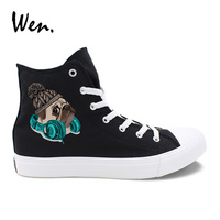 Wen Original Design Pug Dog With Knitted Hat Earphone High Top Laced Unisex Canvas Shoes Sneakers