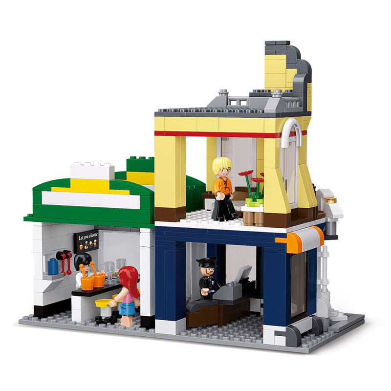 Models building toy 0575 SimCity series the Cafe Corner Hotels Casual Diner Snack bar Building Blocks image