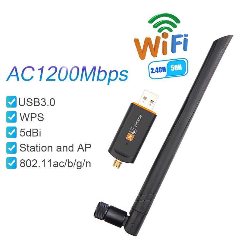 Wifi Antenna Adapter 1200Mbps USB Wifi Adapter Dual Band Wireless Network Card For Laptop Desktop 802.11ac RTL8812 Drop Shipping