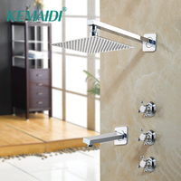 KEMAIDI 8 10 12 16 Inch Stainless Steel Rainfall Head Bathroom Shower Set LED 2 Functions Valve Mixer Shower Set Faucet