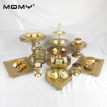 Wholesale 10 PCS Thin Disk Tool 3 Tier Crystal Dessert Display Party Gold White Pink Wedding Cake Stand