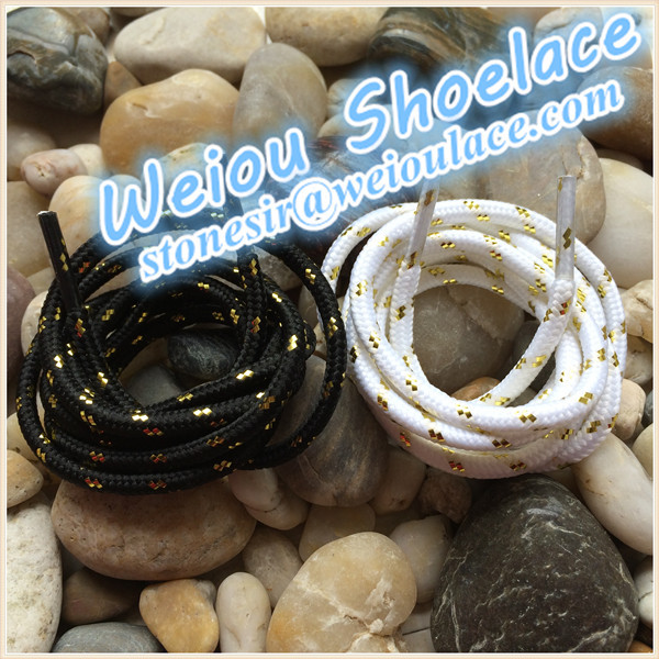 (30 pairs/Lot )Weiou 125cm/49 colored boot laces metallic gold shoelaces black shoelaces wholesales