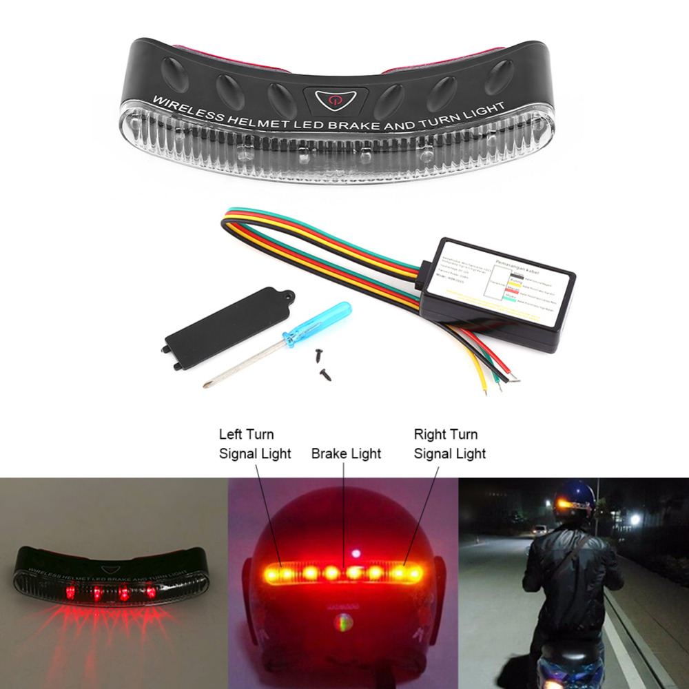 Universal Motorcycle 2.4G Wireless Helmet 12V 8 LED Turn Signal Stop Brake light Warning Racer Safety Lamps