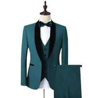 2019 Mens Velvet Suit 3 Pieces Slim Fit One Button Shawl Lapel Groomsmen Tuxedos Blazers For Wedding,Party (Blazer+Vest+Pants)
