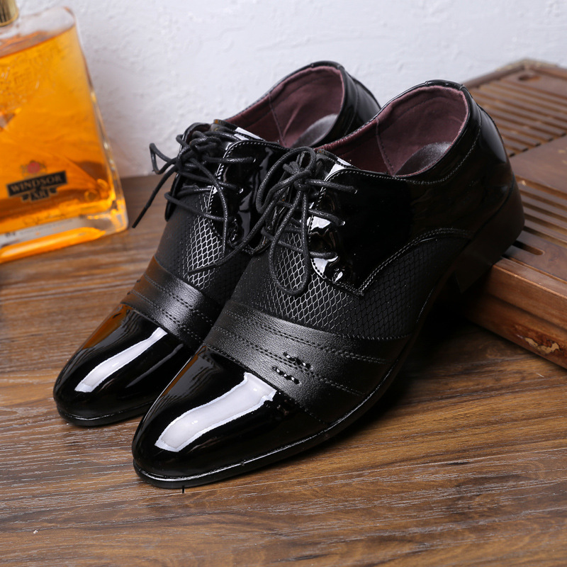 Hot Classic Man Pointed Toe Dress Shoes Mens Patent Leather Wedding Shoes Oxford Formal Shoes Big