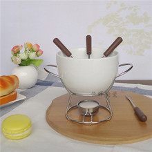 Ceramic Cheese fondue set cheese warmer chocolate pot on a metal stand