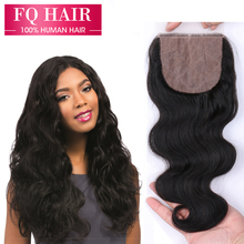 FQ 7A Virgin Brazilian Body Wave Silk Base Closure,Free/Middle/3 Part Silk Base Closures Brazilian Human Hair Top Closure 4×4