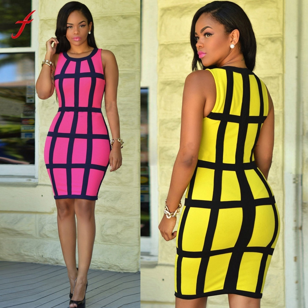 Summer Sexy Women Dress Cocktail Sleeveless Round-Neck Bodycon Party Knee-Length Dresses Hot Pink Yellow Dress Women Vestidos