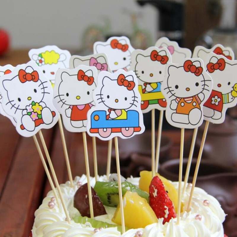 12pcs Cartoon Hello Kitty Car Cupcake Topper Pick Birthday Wedding Party Decorations Kids Evnent Favors Cake Flag Party Supplies