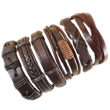 6pcs Handmade wrap brown real charm men leather bracelet for