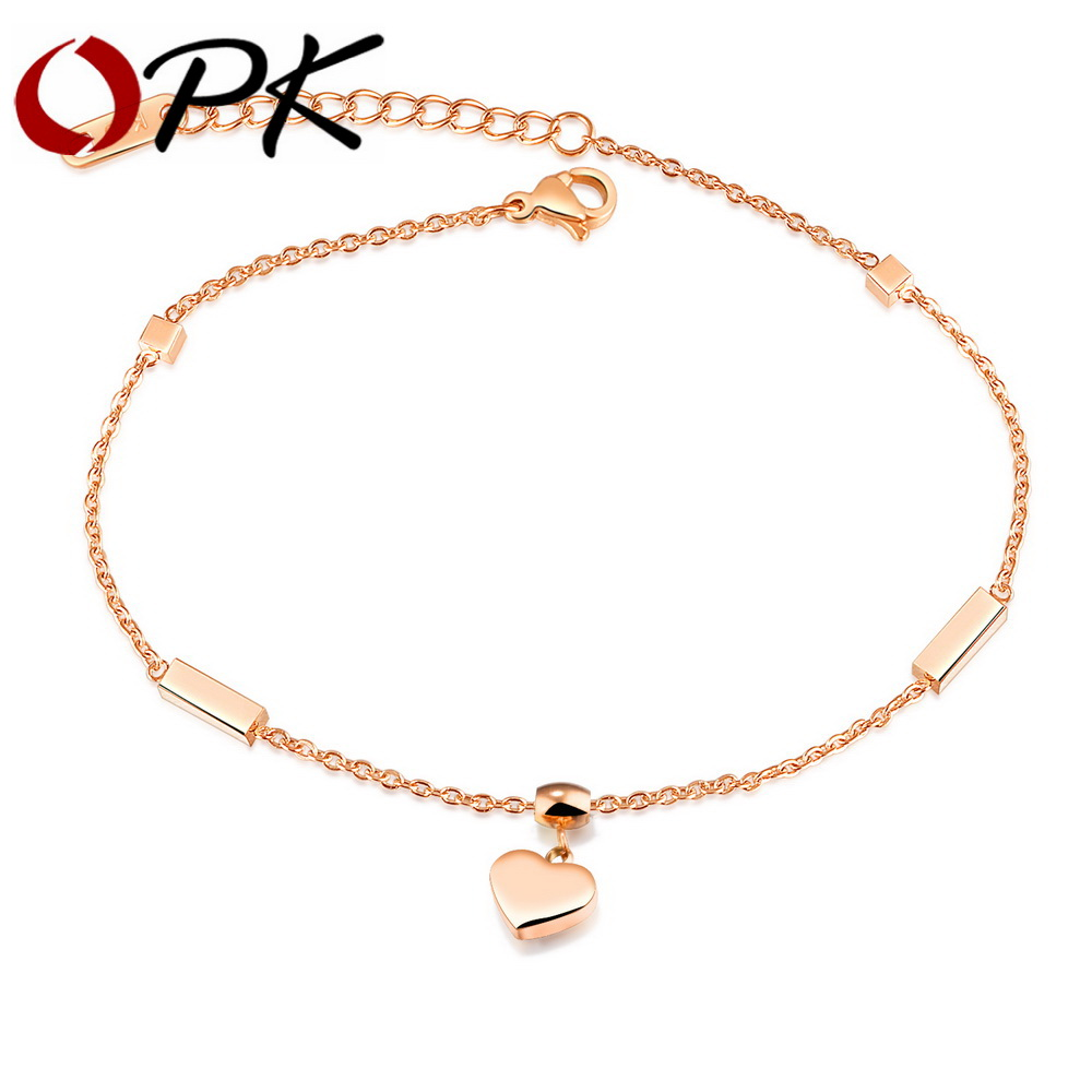 Opk Hert & Cube Charm Anklets For Women Rose Gold Color Stainless Steel Ladies Female Foot Bracelet Friendship Jewelry Gz028 Numerous In Variety Jewelry Sets & More
