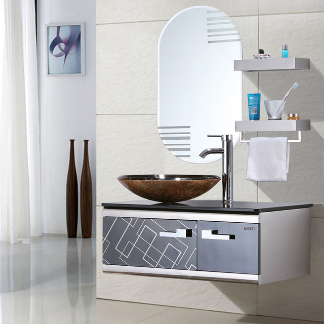 Stainless Steel Bathroom Cabinet Furniture Sets Small 08 M