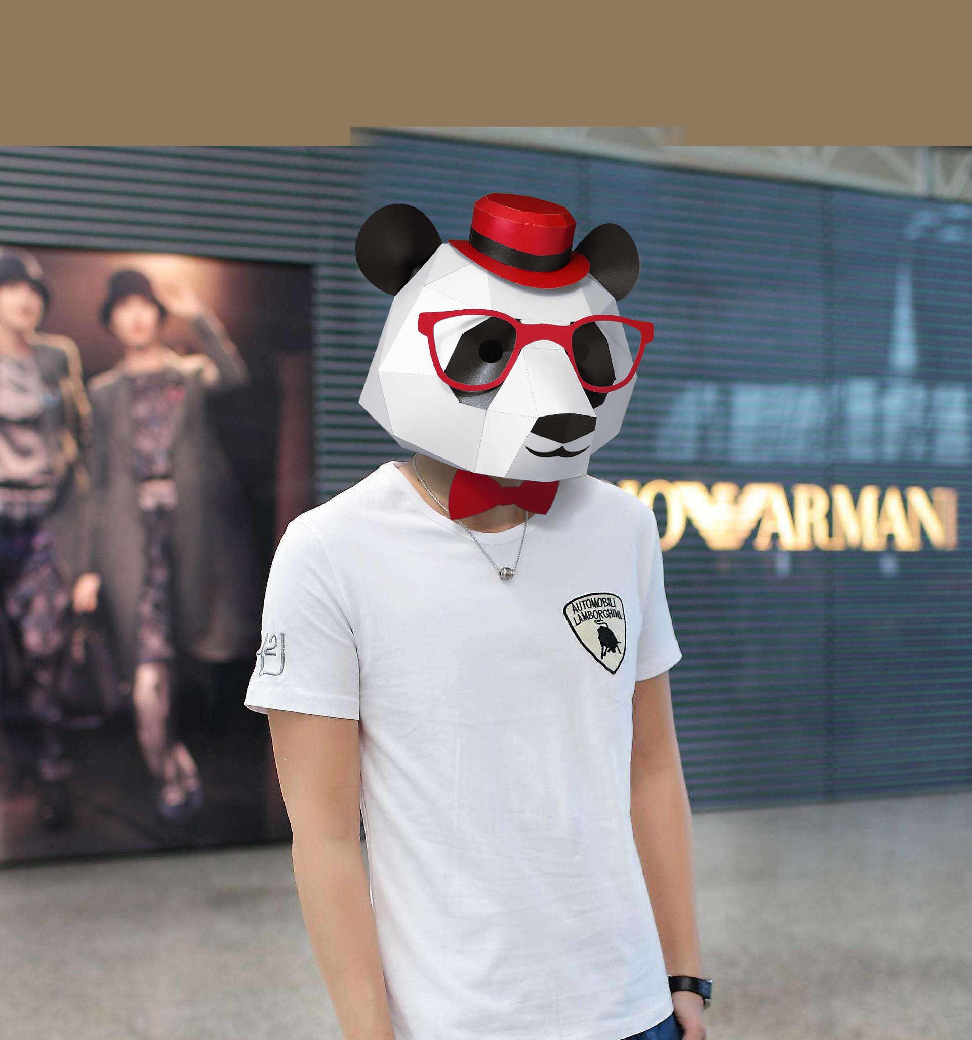 3D قناع ورقي الأزياء الباندا قناع الحيوان زي تأثيري DIY ورقة كرافت نموذج قناع عيد الميلاد هالوين حفلة موسيقية حزب هدية