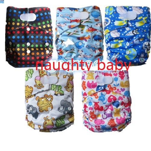 Velcro/wizard baby cloth diapers cover, hook and loop cloth nappy 10pcs 5 sets cloth diapers + 5 pcs inserts