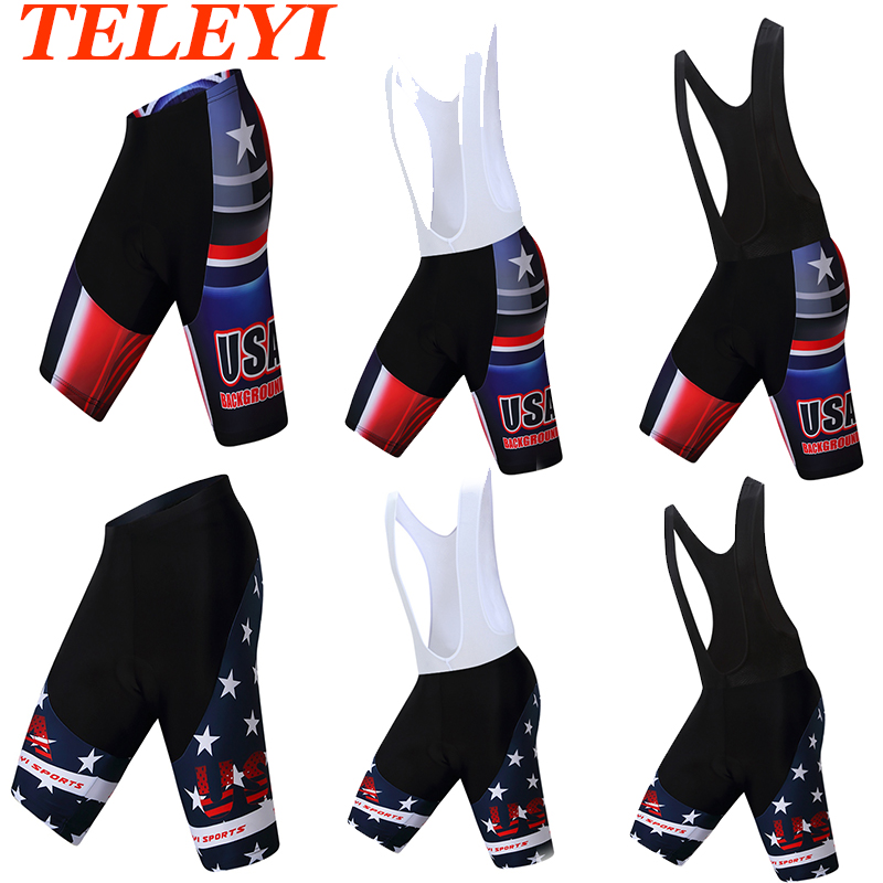 Teleyi USA Cycling Shorts Men Bike Shorts 3D Silicone Pad Breathable Riding Bib Shorts Pants Tights Set S-3XL Quick-Dry