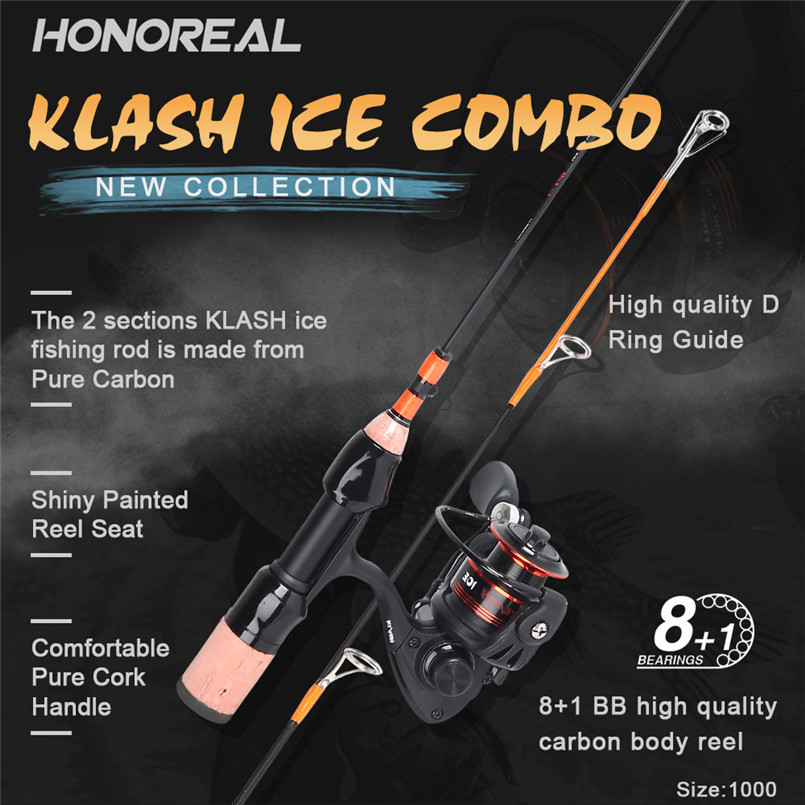 New HONOREAL ice fishing C2 Straight Line Bro Ultra Light Combo 22 Fishing Tool Set Made From Pure Carbon Fish Rod +Reel
