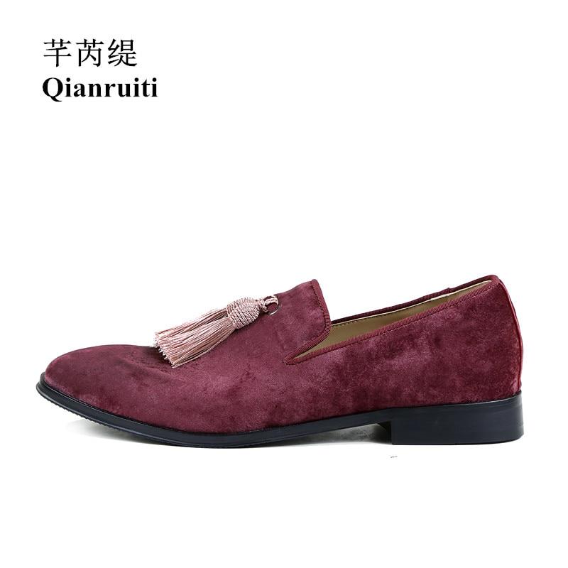 Qianruiti/Мужская замшевая обувь с кисточками; Лоферы без застежки с бахромой на плоской подошве; Роскошная повседневная обувь ручной работы дл