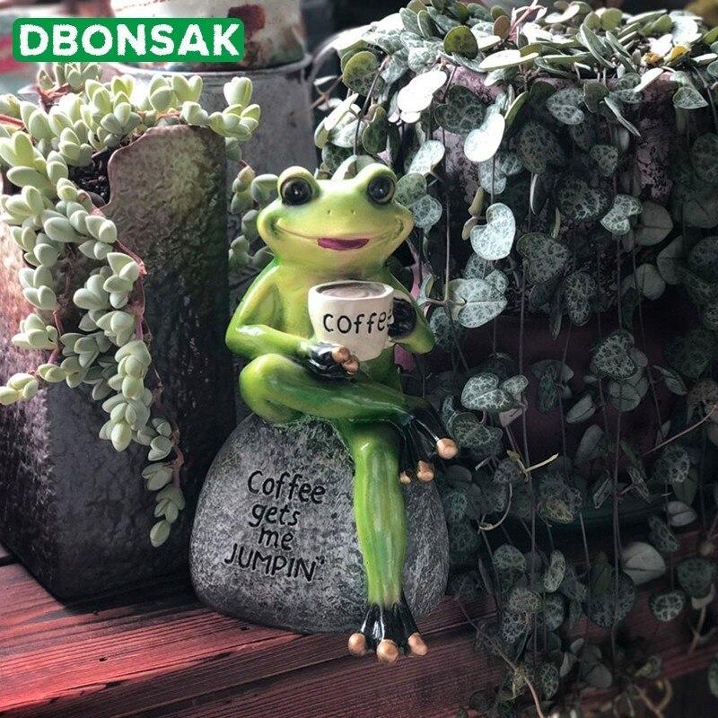 Frog Drinking Coffee Ornaments Resin Frog Animal Garden Sculpture Flowerpot Decor For Home Desk Garden Ornament Micro Landscape