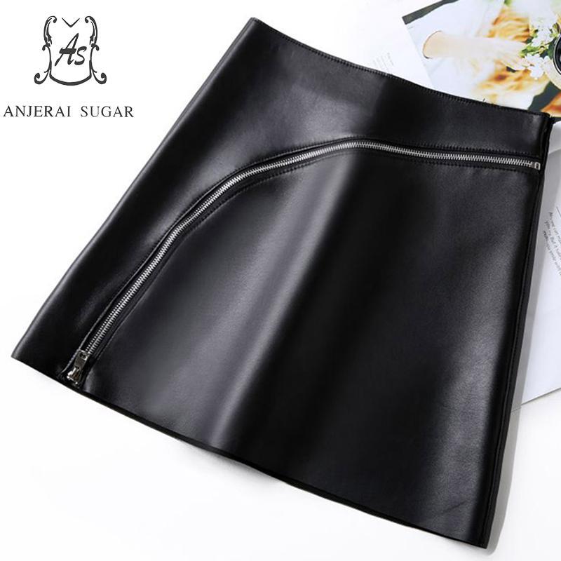 Automne jupes en cuir véritable femmes sexy noir fermeture à glissière irrégulière une ligne paquet hip OL en peau de mouton véritable cuir femme jupe courte