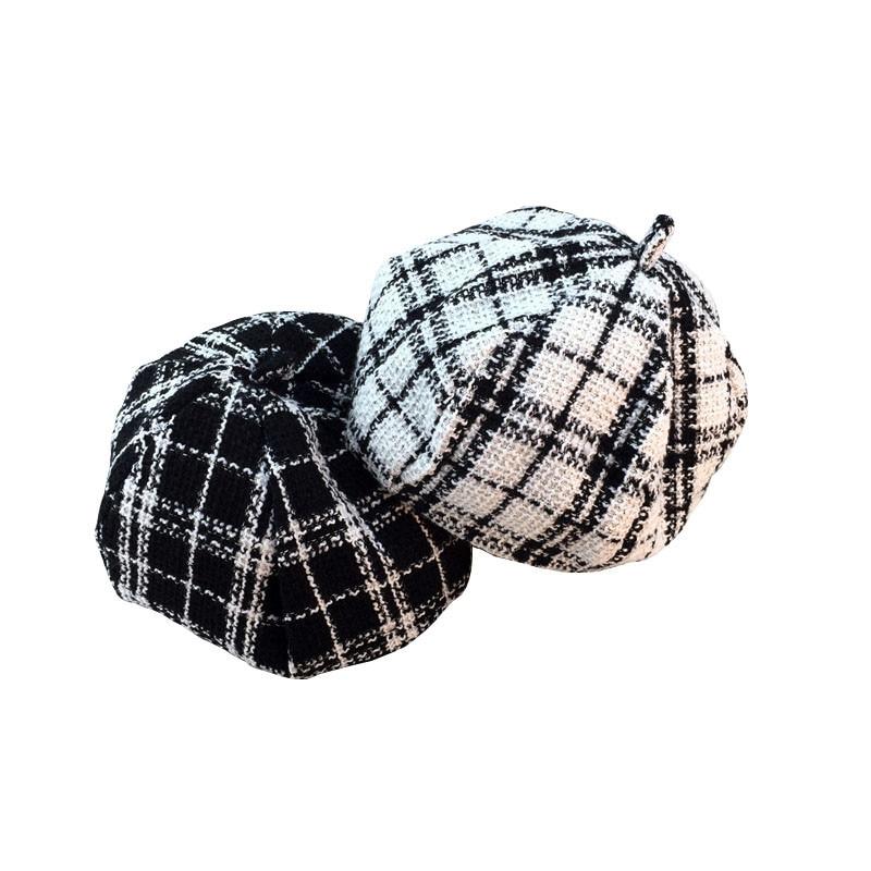 9619215d1 Black White Tweed Plaid Hat Women Winter Newsboy Cap Felt Hats for Women  Vintage Warm Thick Octagonal Cap 2styles