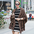 2016 Mujer de piel de visón Auténtico poncho Bufanda poncho con Capucha de piel real y cachemira marrón mantas Calientes Ponchos Capes robó el mantón y Cabos