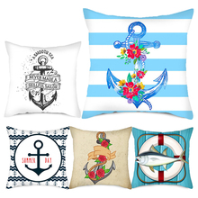 Fuwatacchi Sea Blue Compass Printed Cushion Cover Anchor Pattern Marine Ship Throw Pillow Case Decorative Pillows Cojines